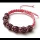 Shamballkový ružovofialový náramok