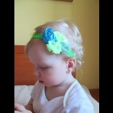 Detská čelenka - modro-zelená