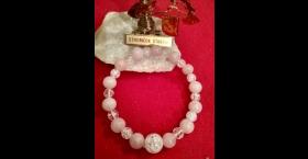 Náramok - praskaný krištál, ruženin