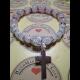 Energetickė náramky - praskaný krištál, ruženín s krížikom