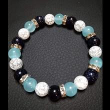 Energetický náramok- Jadeit bledúčko modrý, modrý avanturín, praskaný krištál