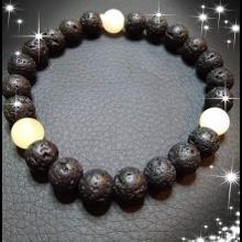 Pánsky energetické náramky- čierna láva, žltý jadeit