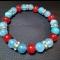 Energetický náramok - modrý jadeit, červený korál