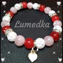 Energetický náramok - praskaný krištál, korál červený, ruženín