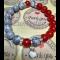 Energetický náramok - červený korál a sivý jaspis