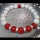 Energetický náramok - praskaný krištál, červený korál