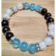 Energetický náramok - modrý jadeit, ónyx, praskaný krištál