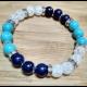 Energetický náramok - praskaný krištál,  tyrkenit, lapis lazuli