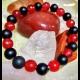 Náramok - ónyx, krvavý korálový jadeit