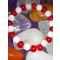 Náramok - praskaný krištál, krvavý korálový jadeit