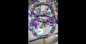 Náramky-modrý, levanduľový jadeit, ruženín, sivý jaspis