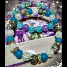 Náramky - modrý, levanduľový jadeit, achát, sivý jaspis, praskaný krištál