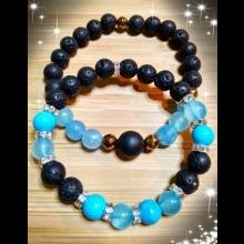 Partnerské náramky - modrý jadeit, achát, láva, hematit