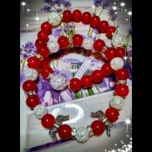 Náramky - červený jadeit, praskaný krištál