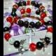 Náramky - červený jadeit, praskaný krištál, ónyx, láva