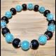 Energetický náramok - modrý jadeit, láva čierna