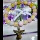 Náramok lásky - žltý jadeit, ruženín