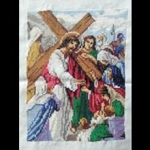 Vyšívaný obraz - Kristus a plačúce ženy