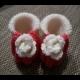 Pletené papučky s ružičkou