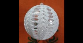 Háčkované gule na vianočný stromček - 4 ks