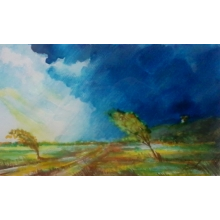 """Aquarel - obrázok pod názvom """" Pred búrkou """""""