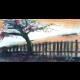Západ slnka na stráni - aquarel